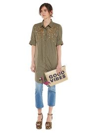 Essentiel Nika1 Embellished Shirt Dress - Lemon Green