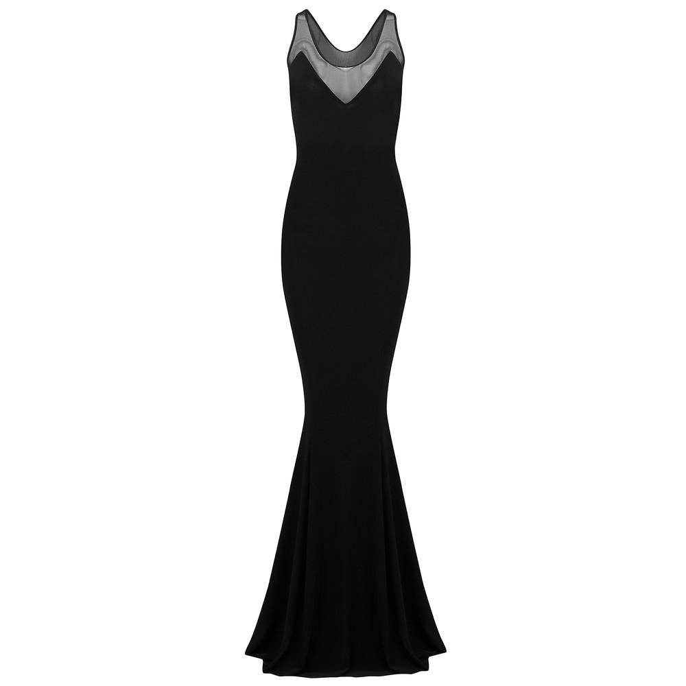 Racer Fishtail Mesh Dress - Black