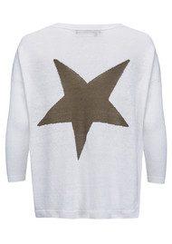 360 SWEATER Aruna Sweater - White & Olive