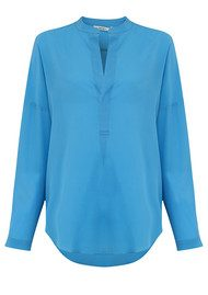 SACKS Placket Silk Shirt - Vintage Blue