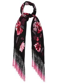 ROCKINS Flora Classic Skinny Fringed Scarf - Pink