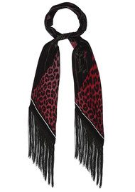 ROCKINS Rose Leopard Classic Skinny Fringed Scarf - Fuchsia
