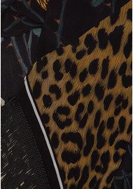ROCKINS Rose Leopard Classic Skinny Fringed Scarf - Gold