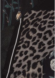 ROCKINS Rose Leopard Classic Skinny Fringed Scarf - Grey
