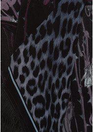 ROCKINS Rose Leopard Classic Skinny Fringed Scarf - Midnight