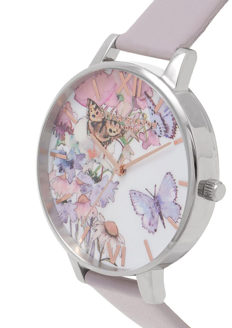 Olivia Burton Painterly Prints Butterfly Watch - Grey Lilac, Silver & Rose Gold main image