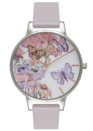 Olivia Burton Painterly Prints Butterfly Watch - Grey Lilac, Silver & Rose Gold