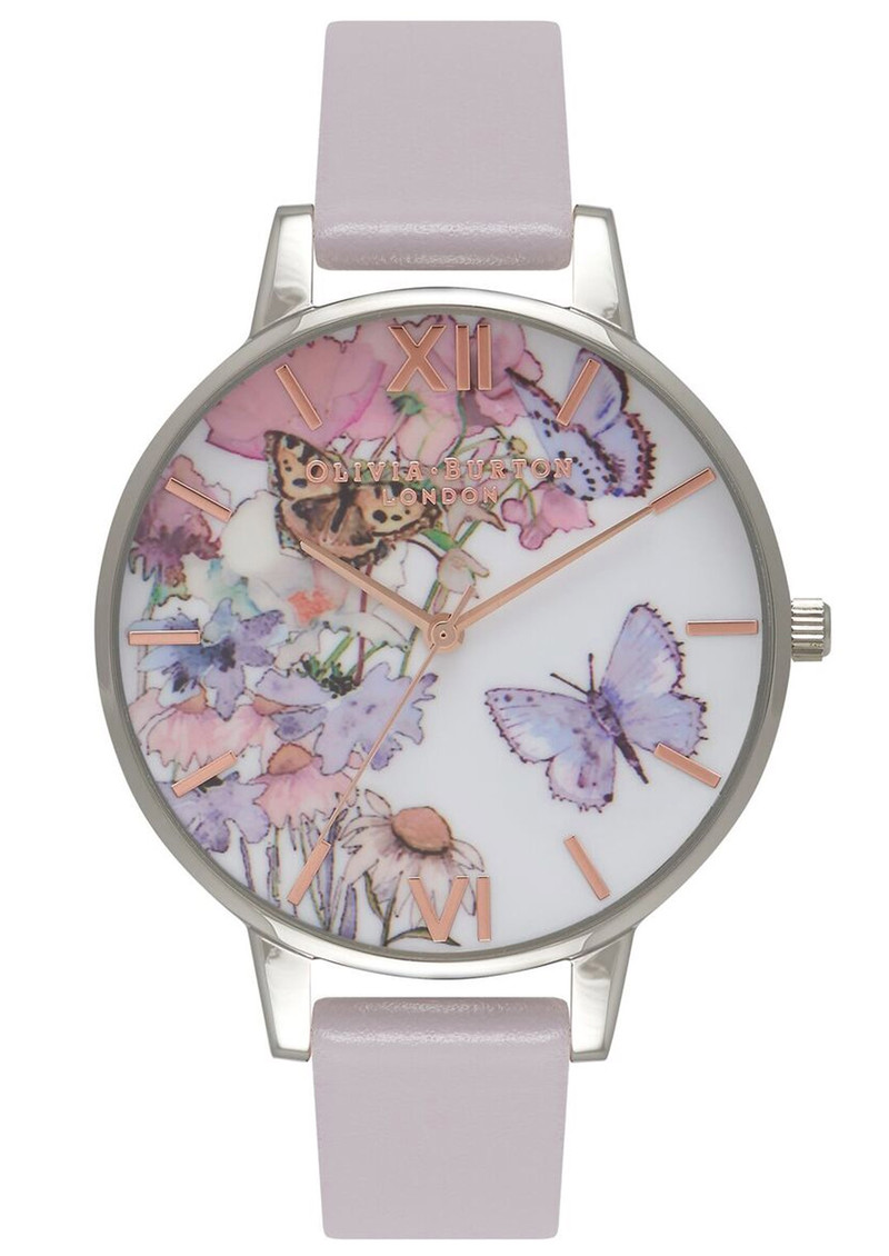 Painterly Prints Butterfly Watch - Grey Lilac, Silver & Rose Gold main image
