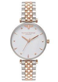 Olivia Burton Queen Bee T-Bar Bracelet Watch - Silver & Rose Gold