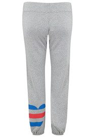 SUNDRY Striped Heart Sweatpants - Heather Grey