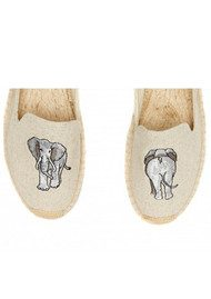 SOLUDOS Elephant Embroidered Smoking Slipper - Sand