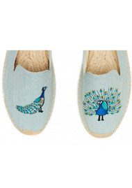 SOLUDOS Peacock Embroidered Smoking Slipper - Chambray