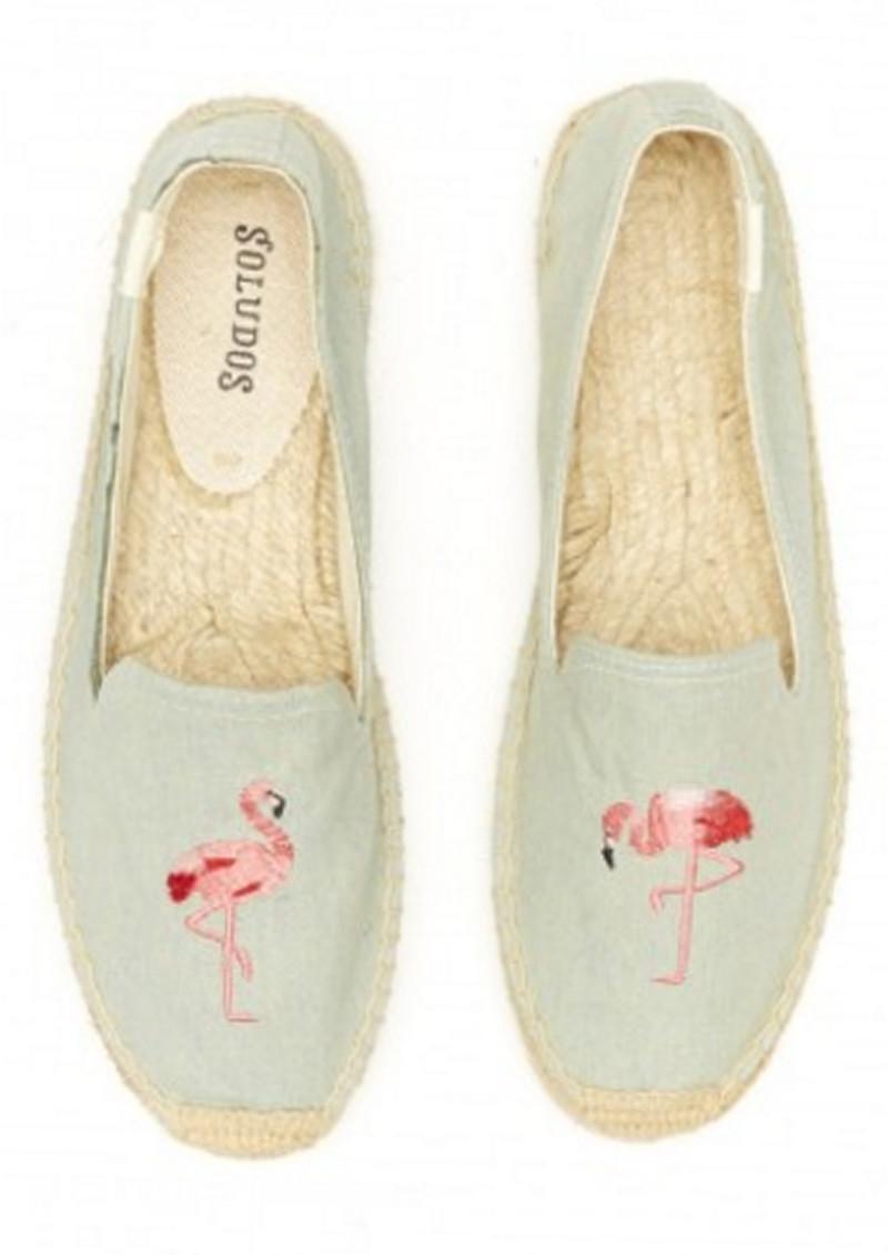 bdb3c1d28b5 Flamingo Embroidered Smoking Slipper - Chambray main image