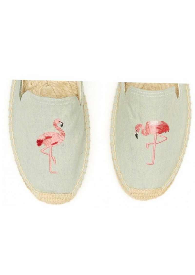 SOLUDOS Flamingo Embroidered Smoking Slipper - Chambray main image
