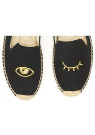 SOLUDOS Wink Embroidered Smoking Slipper - Black & Gold