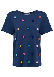 SOUTH PARADE Lola Pom Pom Tee - Navy