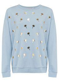 SOUTH PARADE Alexa Palm Tree Sweater - Light Blue & Gold Foil