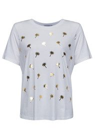 SOUTH PARADE Palm Tree Tee - White & Gold Foil