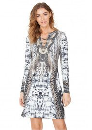 Hale Bob Iderre Beaded Dress - Black & White