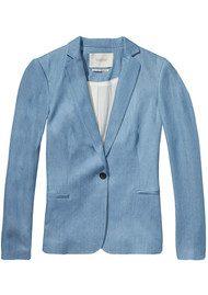 Maison Scotch Tailored Tencel Blazer - Pool Blue