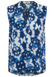 CHARLOTTE SPARRE Wrap Top - Ink Flower Blue