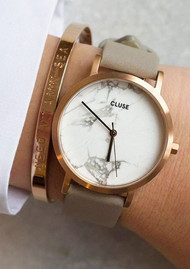 CLUSE La Roche Petite Rose Gold Watch - White & Grey