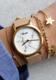 CLUSE La Roche Petite Gold Watch - White & Nude