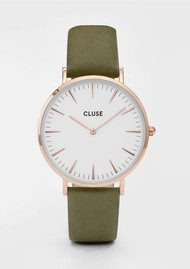 CLUSE La Boheme Rose Gold Watch - White & Olive