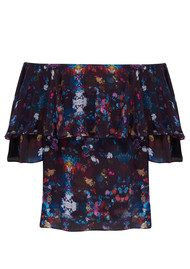 Lily and Lionel Alice Bardot Floral Top - Navy