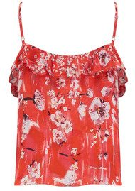 Lily and Lionel Winnie Silk Ruffle Cami - Ruby Red