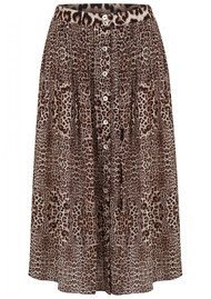 Lily and Lionel Kitty Pin Tuck Midi Silk Leopard Skirt - Neutral