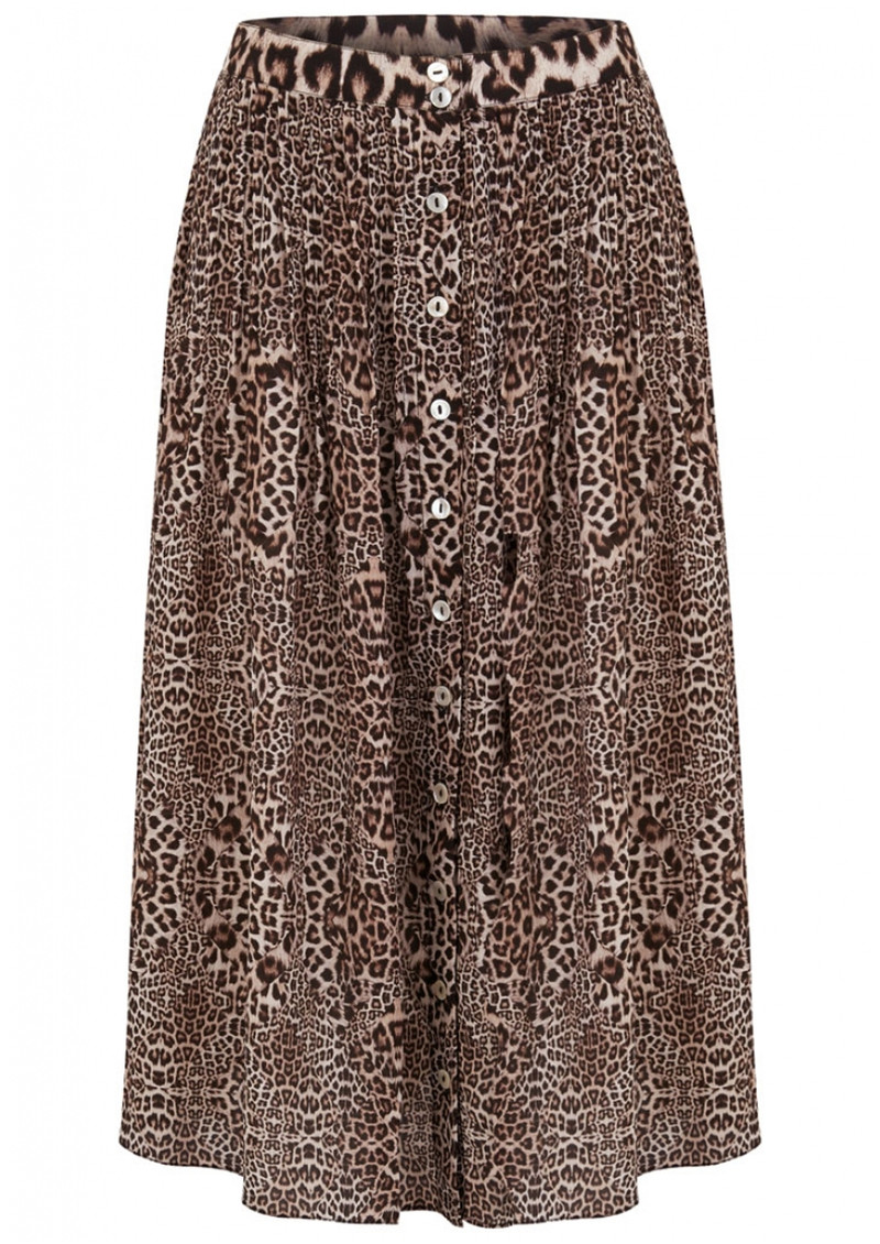 Lily and Lionel Kitty Pin Tuck Midi Silk Leopard Skirt - Neutral main image