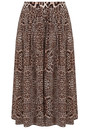 Kitty Pin Tuck Midi Silk Leopard Skirt - Neutral additional image