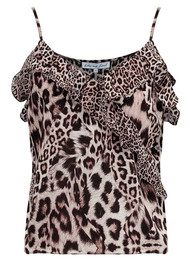 Lily and Lionel Kitty Silk Ruffle Cami - Neutral Leopard