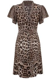 Lily and Lionel Kitty Button Down Midi Dress - Neutral Leopard