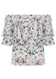 Lily and Lionel Alice Bardot Floral Top - White