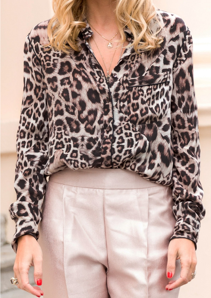 Lily and Lionel Kitty Piped Classic Shirt - Neutral Leopard main image