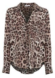 Kitty Piped Classic Shirt - Neutral Leopard
