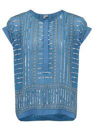 Blank Jasmine Embellished Top - Snorkel Blue