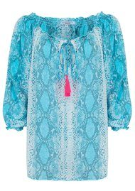 BETH AND TRACIE Kacy Snake Print Top - Ocean