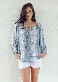 BETH AND TRACIE Kacy Snake Print Top - Steel Grey