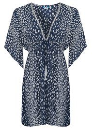 BETH AND TRACIE Flower Dalmatian Print Tunic - French Navy