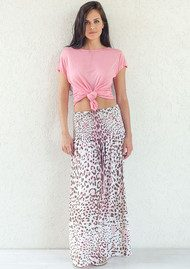 BETH AND TRACIE Marissa Leopard Print Skirt - Blush