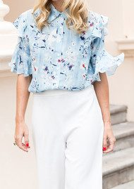 Lily and Lionel Winnie Short Sleeve Ruffle Blouse - Cornflower