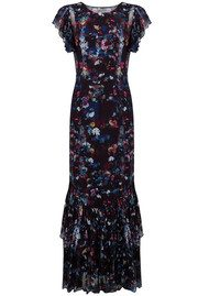 Lily and Lionel Alice Ruffle Detail Maxi Dress - Navy