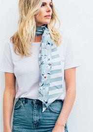 Lily and Lionel Sabina Skinny Silk Scarf - Cornflower