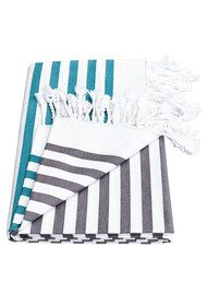HAMMAMHAVLU Deniz Breton Stripe Towel - Washed Black & Jade