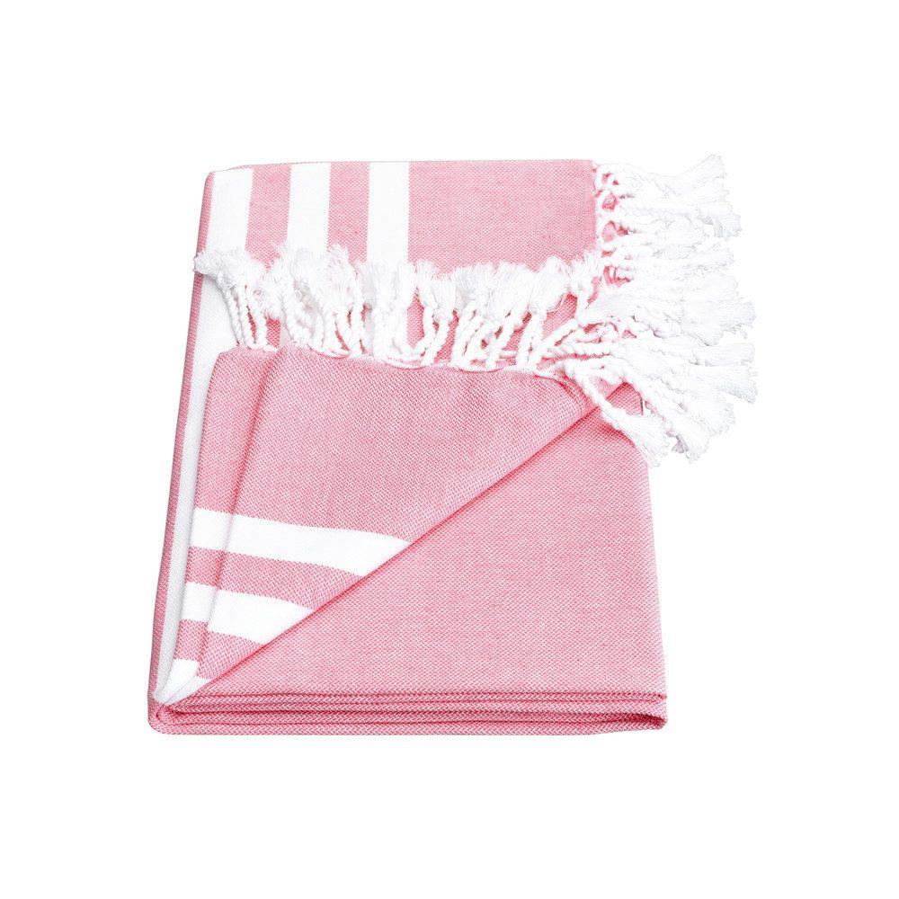 Esra Three Striped Towel - Pink