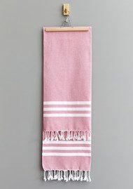 HAMMAMHAVLU Esra Three Striped Towel - Pink
