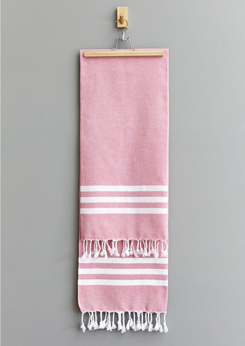 HAMMAMHAVLU Esra Three Striped Towel - Pink main image